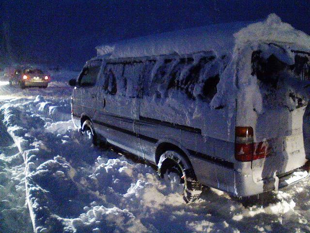 吹雪の中で